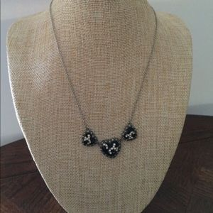 Beautiful black three hearts necklace